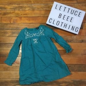 Gap turquoise embroidered boho dress 4 long sleeve